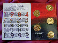 5 coin $1 UNCIRC set in booklet of issue. 1984, 1985, 1986, 1988 and 1992! NICE!