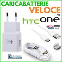 CARICABATTERIE VELOCE FAST CHARGER per HTC U19E PRESA USB + CAVO TIPO TYPE C
