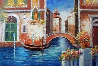 Venice Italian Canal Homes Flowers Boats 24X36 Oil On Canvas Painting  STRETCHED