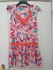 HOOCH WHITE PINK BLUE CORAL COTTON WRAP FRONT LAYERED SUMMER TUNIC TOP DRESS - 8