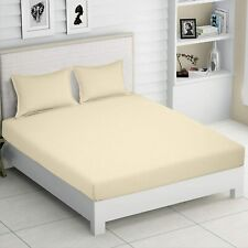 """Cotton Double Striped Sateen Fitted Bedsheet with 2 Pillow Cover 210 TC - 72x78"""""""