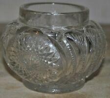 """Vintage Cut Crystal Powder Jar No Lid 4 1/4"""" x 3 1/4"""" Rim 2 3/4"""""""
