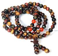 Natural 6mm Tiger's Eye Gems Tibetan Buddhist Prayer Bead Mala Bracelet/Necklace