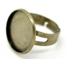 1x Einstellbarer Ringrohling Bronze für 18 mm Cabochon Kamee DIY Basteln