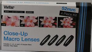 Vivitar 1 2 4 10 Close Up Macro Filter Set Pouch 52mm For nikon 18-55mm 55-200