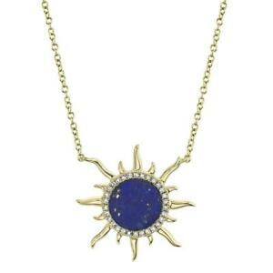 Lapis Lazuli Diamond Sun Necklace 14K Yellow Gold Pendant Natural 0.92 TCW