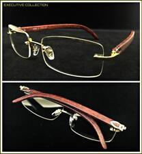 Classy Exotic Elegant Retro Style Clear Lens EYE GLASSES Rimless Gold Wood Frame