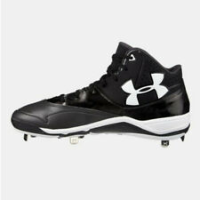 New Mens Under Armour Ignite Mid ST CC Baseball Cleat Black/White Sz 13M Re