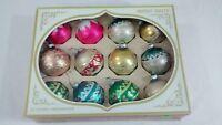Vintage Shiny Brite Glass Christmas Ornaments Box of 12 pink glitter USA made