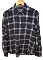 Eddie Bauer Men's Flannel Button Up Shirt Soft Cotton Plaid Blue & White Size L