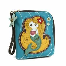 NEW CHALA BLUE MERMAID ZIPPERED WALLET FAUX LEATHER BROWN YELLOW