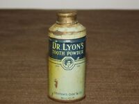 "VINTAGE MEDICINE 2 3/4"" HIGH DR LYONS'S TOOTH POWDER TIN METAL CAN *EMPTY*"
