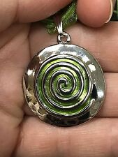 "Aztec Green Circle Swirl Lg. Art Deco Charm Tibetan Silver 18"" Necklace D291"