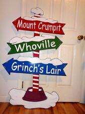 NEW GRINCH MT. CRUMPIT, WHOVILLE POLE SIGN CHRISTMAS YARD ART DECOR