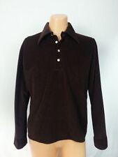 Vtg 70s K-Mart Shirt Top Pullover 1/2 ButtonDown Brown Prep Hippy Pimp Disco M/L