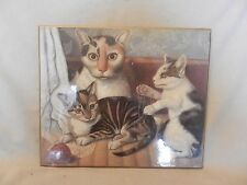 Cat and Kittens Americana Print Laminated on Wood from National Gallery of Art