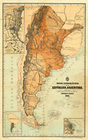 First Official Map of Argentina 1883 Historic Wall Art Poster Print Decor