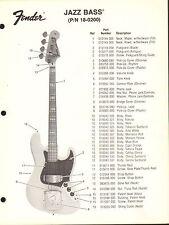 VINTAGE AD SHEET #3605 - FENDER GUITAR PARTS LIST - JAZZ BASS 18-0200