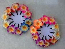 Pk of 10 Beautiful Multi-coloured frangipani hair clips - approx 4.5cm flower
