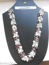 Hallmark Sterling Silver Sri Lanka Moonstone/Garnet Bunch Necklace (N20/8) (NEW)
