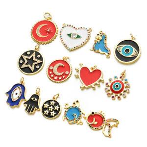 1X Copper Zircon Star Eye Heart Charm Enamel Charm Pendant DIY Bracelet Necklace