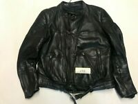 "Polo Motorcycle Jacket Real Leather Black Armpit 22"" Lgth 25"" (495)"