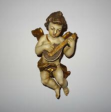 Alte Putto mit Laute, Barockengel, Holzengel, Wandengel Holz geschnitzt