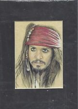 "Pirates of the Caribbean Art Print of Jack Sparrow 5""x7"""