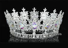 AB Crystal Aurora Men Pageant Tiara Full Circle Round Silver King Crown T1828