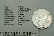 1 Pound Pfund Malta 1979 Silber stempelglanz..............COA.M844