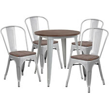"""26"""" Round Silver Metal Restaurant Table Set with Walnut Wood Top and 4 Chairs"""