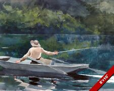 FLY FISHING CASTING FROM BOAT BY HOMER WATERCOLOR PAINTING ART REAL CANVAS PRINT