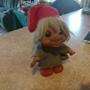 "1980 DAM 24-4 Troll Doll 9"" Textured red Legs gray Felt Shirt and Red Hat"