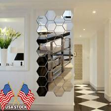 DIY 3D Removable Wall Stickers Mirror Hexagon Vinyl  Decal Home Decor Art 12Pcs