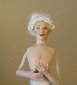 miniature porcelain dollhouse doll handsome man Georgian baroque white hair