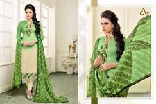 Designer Embroidered Chanderi Cotton Churidar Salwar Kameez Suit Dress Material