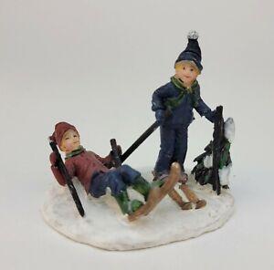 Christmas Village Figurine Children Kids Boys Skiing Ski Slope