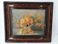 Peinture ancienne, huile sur toile bouquet de fleurs signée
