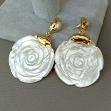 White Mop Shell Flower White Pearl 24 K Yellow Gold Plated Stud Earrings