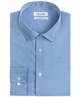 $175 CALVIN KLEIN Men SLIM-FIT WHITE BLUE CHECK LONG-SLEEVE DRESS SHIRT 15 34/35