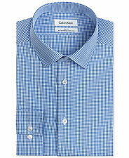 NWT $99 CALVIN KLEIN Men SLIM-FIT WHITE BLUE CHECK BUTTON DRESS SHIRT 15 32/33 M