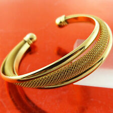 BANGLE CUFF BRACELET GENUINE REAL 18K YELLOW G/F GOLD SOLID ANTIQUE BEAD DESIGN