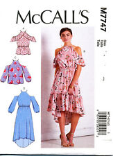 MCCALL'S SEWING PATTERN 7747 MISSES 14-22 COLD SHOULDER DRESS TOP, RUFFLE OPTION