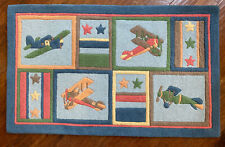 Company Store 3'x5' Vintage Airplane Theme Nursery Boys Room Wool Pile Area Rug