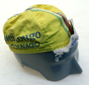 Del Tongo Colnago Cycling Cap Yellow/Blue Vintage 1980's Made in Italy