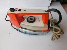 Vintage Retro TEFAL Electric Iron in funky orange 1970s color FOR PARTS OR NOT