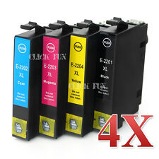 4x 220XL Compatible Ink w chip for Epson Workforce WF2760 WF2750 WF2660 non-oem