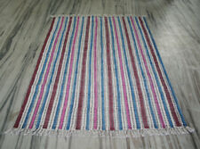 New Hand Made Block Peint Cotton Kilim Rug 4'x6' Feet Turkish Cotton Carpet Rug