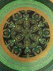 "Handpainted Green & Gold Dot Mandala Painting - Wall Art on 12"" Vinyl Record"