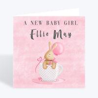 Personalised Handmade New Baby Girl Greeting Card Shower Keepsake Gift Rabbit UK